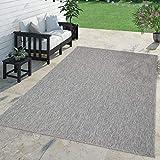 TT Home Teppich Für Outdoor Küchenteppich Balkon Terrasse Unifarbenes Design Modern, Farbe:Grau, Größe:300x400 cm