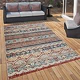 Paco Home Outdoor Teppich Küchenteppich Balkon Terrasse Vintage Ethno Muster Rot Blau Beige, Grösse:120x160 cm