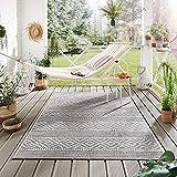 Steffensmeier Indoor Outdoor Teppich Norrland Garten Flur Balkon, wasserfest, strapazierfähig und pflegeleicht, Streifen Beige Grau, Größe: 135x190 cm