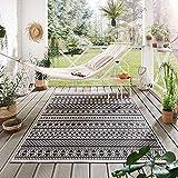 Steffensmeier Indoor Outdoor Teppich Nyland wasserfest Kunststoff Balkon Garten Flur, strapazierfähig und pflegeleicht, Streifen Schwarz, Größe: 200x2
