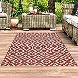 carpet city Teppich In- und Outdoor Wetterfest UV-beständig Raute-Muster Modern Rot für Terrasse Balkon; Größe: 200x290 cm