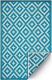 FH Home Indoor/Outdoor recyceltem Kunststoff Bodenmatte/Teppich - reversibel - Wetter und UV-beständig - Aztec - Teal/White (120 cm x 180 cm)