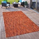 Paco Home Outdoor Teppich Balkon Terrasse Küchenteppich Rauten Muster 3D Optik Rot Orange, Grösse:160x220 cm