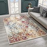 SANAT Teppich Vintage - Modern Teppiche für Wohnzimmer, Kurzflor Teppich in Rot/Gelb/Blau, Öko-Tex 100 Zertifiziert, Größe: 80x150 cm
