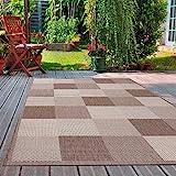 VIMODA Robuster Flachgewebe Teppich In- und Outdoor Tauglich, Maße:160x230 cm