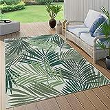 Paco Home In- & Outdoor Teppich Terrasse Balkon Küchenteppich Florale Und Geometrische Muster, Grösse:100x200 cm, Farbe:Grün