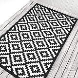 Green Decore Wendbarer Öko-Teppich aus recyceltem Kunststoff (Plastik) für Innen und Außen/Federleicht, 120 x 180 cm, Schwarz/Weiß