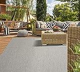 Mia´s Teppiche Lara Flachgewebe In-& Outdoor Teppich UV-und WitterungsbeständigGrau 200x280, 100% Polypropylen, Grau, 200x280 cm