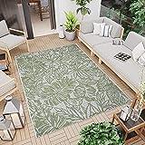 CC Teppich In-Outdoor Wetterfest - Grün-Weiß - 160x230cm - Blumen Muster Terassenteppich Balkonteppich Boho Design Oeko-Tex Standard