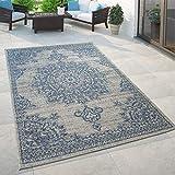 Paco Home Outdoor Teppich Blau Beige Orient Design Blumen Muster Balkon Wohnzimmer, Grösse:120x170 cm