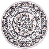 SHACOS Teppich Rund 120cm Vintage Teppiche Grau Teppich Boho Draußen Baumwollteppich Waschbar Grau Perfekt für Wohnzimmer, Schlafzimmer, Hotel usw.