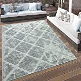 Paco Home In- & Outdoor Terrassen Teppich Marmor Optik Rauten Muster In Grau, Grösse:160x230 cm