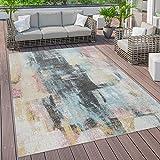 Outdoor Teppich Terrasse Vintage Küchenteppich Muster Abstrakt Pastell Gelb Blau, Grösse:200x280 cm