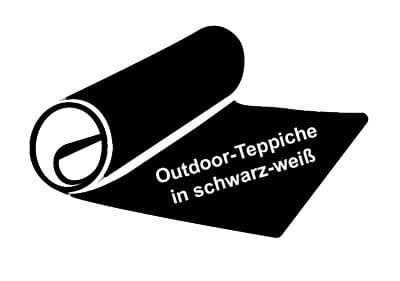 Ein Outdoor-Teppich in schwarz-weiß